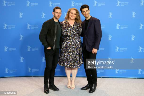 Jamie Bell Danielle Macdonald and Guy Nattiv pose at the Skin photocall during the 69th Berlinale International Film Festival Berlin at Grand Hyatt...