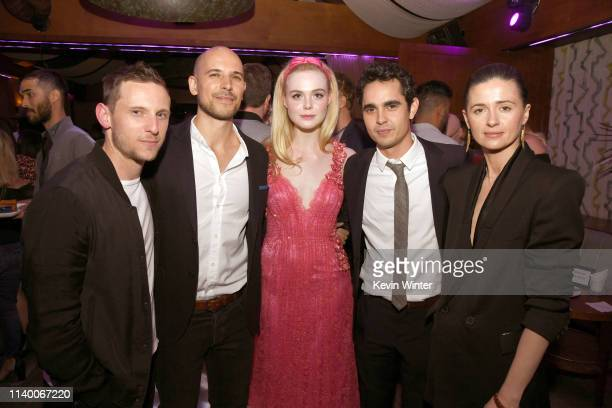 Jamie Bell Fred Berger Elle Fanning Max Minghella and Agnieszka Grochowska pose at the after party for a special screening of Bleeker Street's Teen...