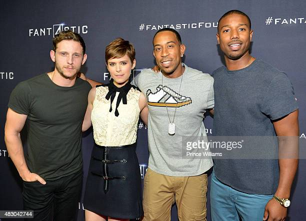 "Jamie Bell, Kate Mara, Ludacris and Michael B. Jordan attend ""Fantastic Four"" red carpet screening at Cinebistro on July 30, 2015 in Atlanta, Georgia."