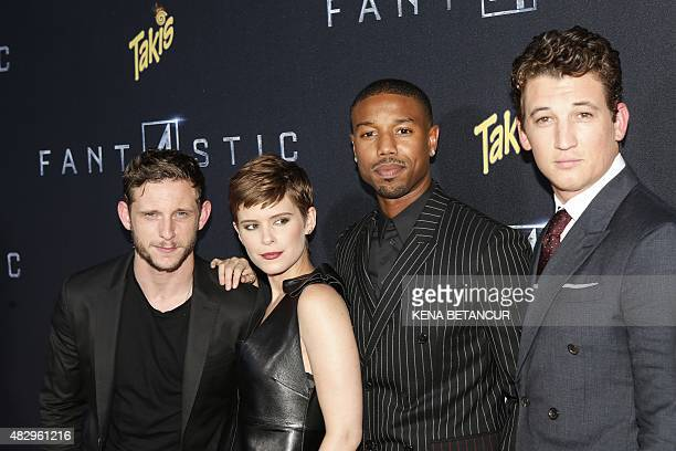 Jamie Bell Kate Mara Michael B Jordan and Miles Teller pose for a picture as they attend the Fantastic Four premiere in Brooklyn New York on August...