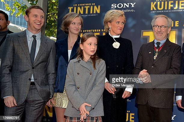 Jamie Bell Princess Luisa Maria Princess Laetitia Maria Princess Astrid of Belgium and Steven Spielberg attend the World Premiere Photocall of...