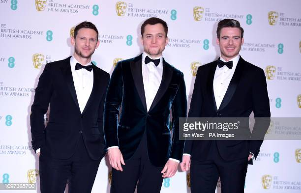 Jamie Bell Taron Egerton and Richard Madden in the press room at the 72nd British Academy Film Awards held at the Royal Albert Hall Kensington Gore...