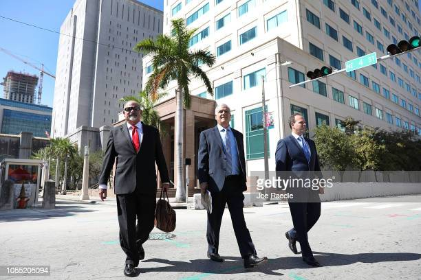 Jamie Benjamin Daniel Aaronson and Peter Patanzo from the Benjamin Aaronson Edinger Patanzo PA law firm walk outside the Federal District court for...