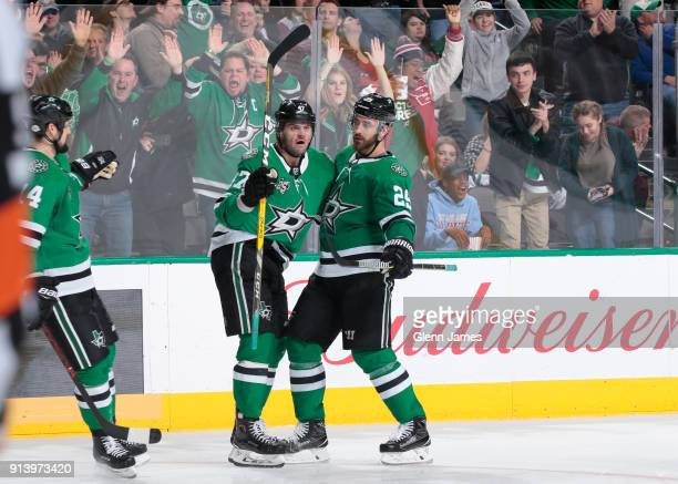 Jamie Benn Alexander Radulov Greg Pateryn and the Dallas Stars celebrates a goal against the Minnesota Wild at the American Airlines Center on...