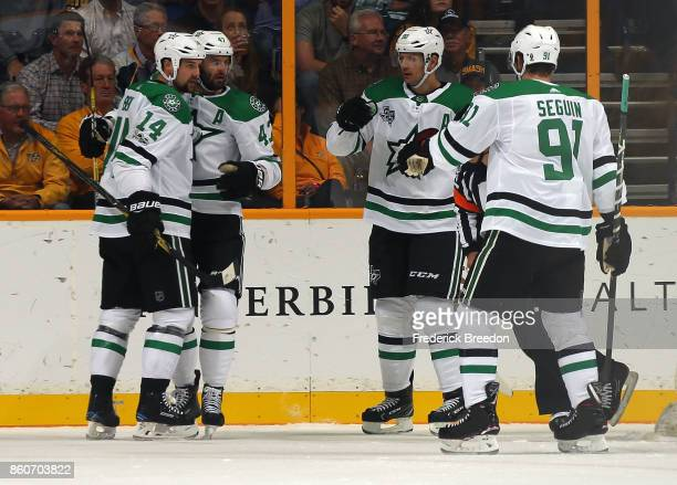 Jamie Benn Alexander Radulov Jason Spezza and Tyler Seguin of the Dallas Stars celebrate a goal against the Nashville Predators during the first...