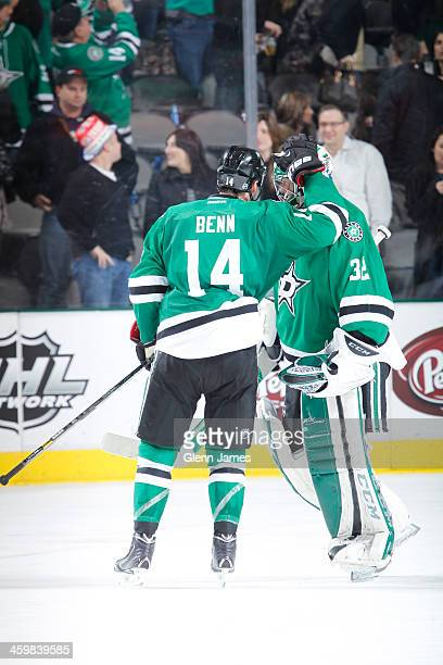 Jamie Benn and Kari Lehtonen of the Dallas Stars celebrate a win against the Los Angeles Kings at the American Airlines Center on December 31 2013 in...