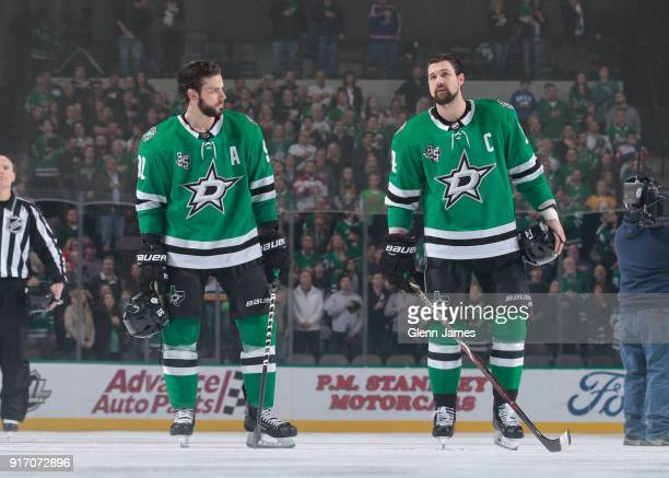 Jamie Benn and Tyler Seguin of the Dallas Stars before a game against the Pittsburgh Penguins at the American Airlines Center on February 9 2018 in...