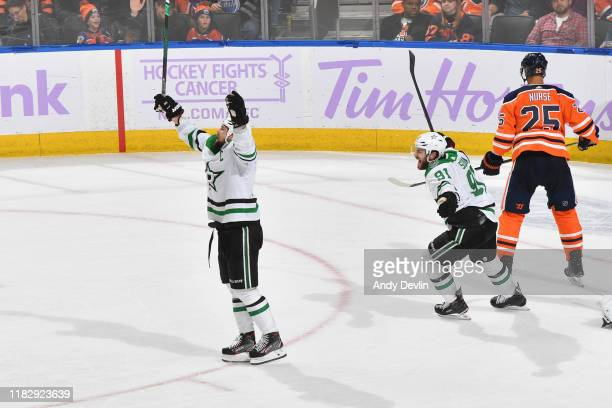 Jamie Benn and Tyler Seguin of the Dallas Stars celebrate after winning the game against the Edmonton Oilers on November 16 at Rogers Place in...