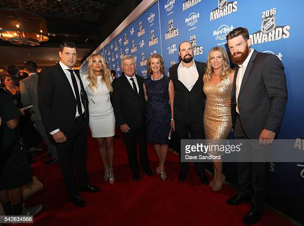 Jamie Benn far left and Jordie Benn far right of the Dallas Stars and their family attend the 2016 NHL Awards at the Hard Rock Hotel Casino on June...