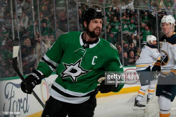 Jamie Benn of the Dallas Stars celebrates a goal against the Buffalo Sabres at the American Airlines Center on January 30 2019 in Dallas Texas