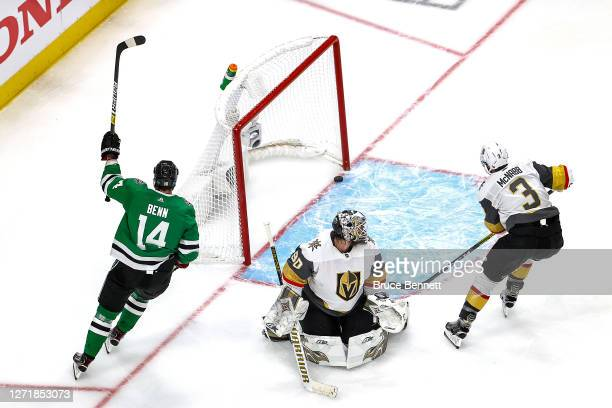 Jamie Benn of the Dallas Stars celebrates after scoring a goal past Robin Lehner of the Vegas Golden Knights during the third period in Game Three of...