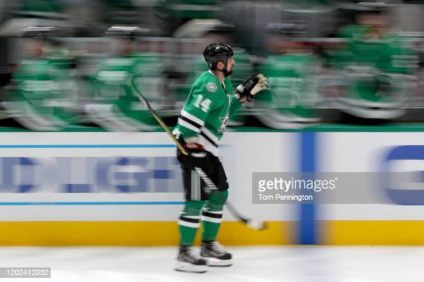 Jamie Benn of the Dallas Stars celebrates after scoring against the Tampa Bay Lightning in the third period at American Airlines Center on January 27...