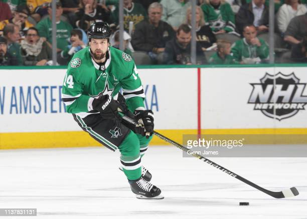Jamie Benn of the Dallas Stars handles the puck against the Nashville Predators in Game Four of the Western Conference First Round during the 2019...