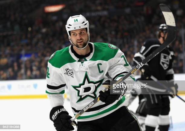 Jamie Benn of the Dallas Stars looks on after scoring a goal during the first period of a game against the Los Angeles Kings at Staples Center on...