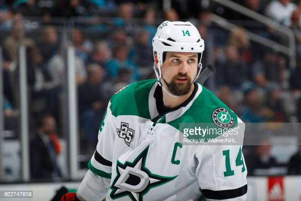 Jamie Benn of the Dallas Stars looks on during the game against the San Jose Sharks at SAP Center on February 18 2018 in San Jose California