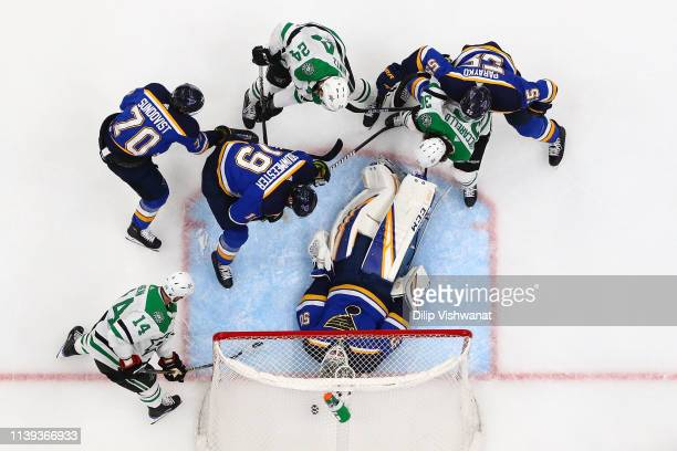 Jamie Benn of the Dallas Stars scores a goal against Jordan Binnington of the St Louis Blues in Game One of the Western Conference Second Round...