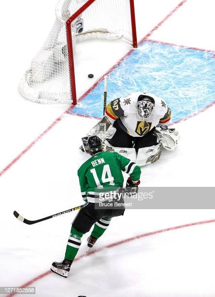 Jamie Benn of the Dallas Stars scores a goal past Robin Lehner of the Vegas Golden Knights during the third period in Game Three of the Western...