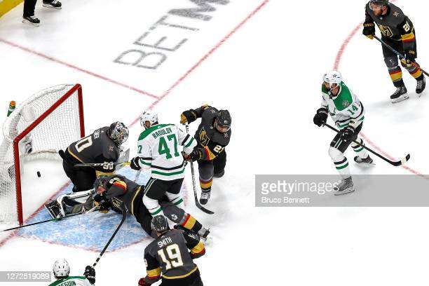 Jamie Benn of the Dallas Stars scores a goal past Robin Lehner of the Vegas Golden Knights during the third period in Game Five of the Western...