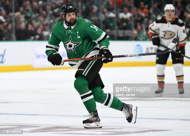 Jamie Benn of the Dallas Stars skates against the Anaheim Ducks at the American Airlines Center on October 24 2019 in Dallas Texas
