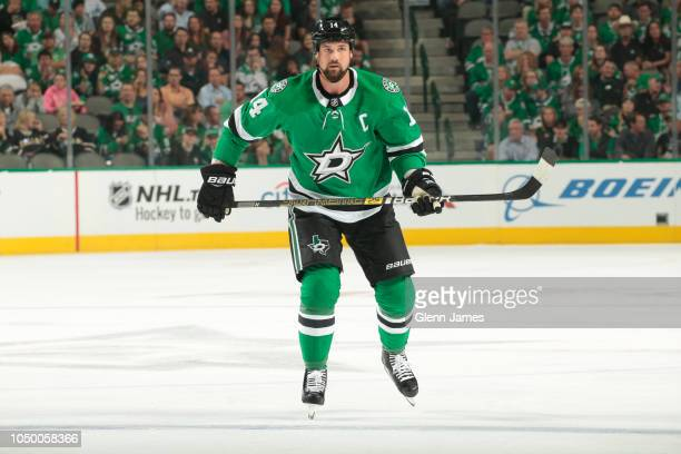 Jamie Benn of the Dallas Stars skates against the Arizona Coyotes at the American Airlines Center on October 4 2018 in Dallas Texas