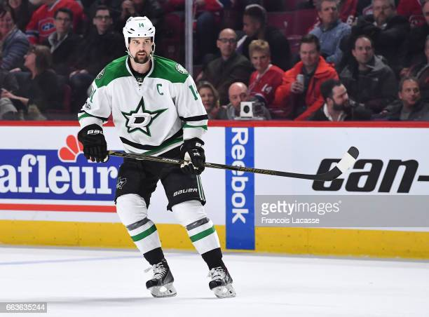 Jamie Benn of the Dallas Stars skates against the Montreal Canadiens in the NHL game at the Bell Centre on March 28 2017 in Montreal Quebec Canada