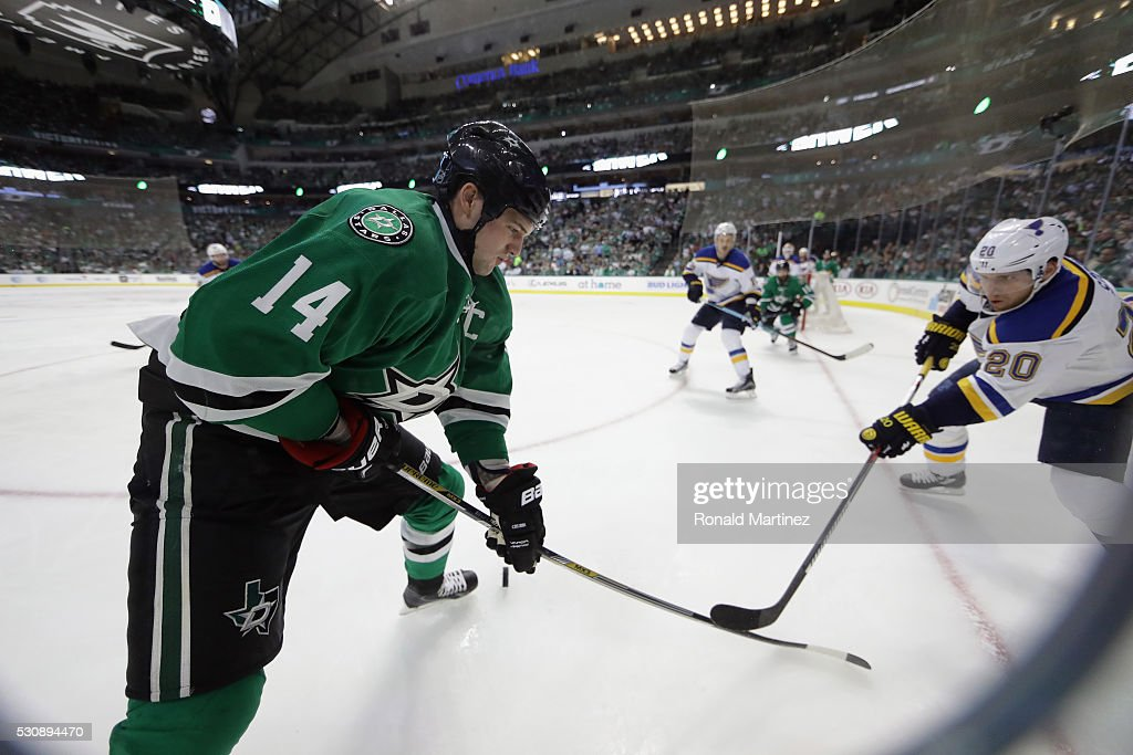 Jamie Benn #14 of the Dallas Stars skates the puck against Alexander Steen #20 of the St. Louis Blues in the third period in Game Seven of the Western Conference Second Round during the 2016 NHL Stanley Cup Playoffs at American Airlines Center on May 11, 2016 in Dallas, Texas.