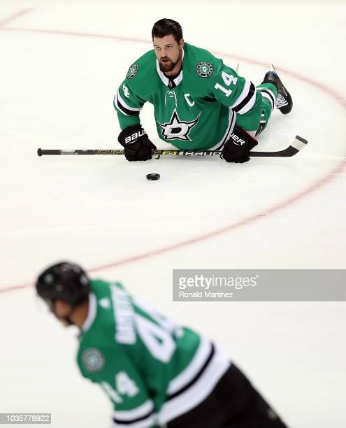 Miro Heiskanen of the Dallas Stars skates the puck against the St Louis Blues during a preseason game at American Airlines Center on September 18...