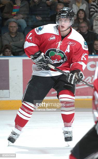Jamie Benn of the Kelowna Rockets skates against the Vancouver Giants on November 13 2008 at Prospera Place in Kelowna Canada Benn is wearing a...
