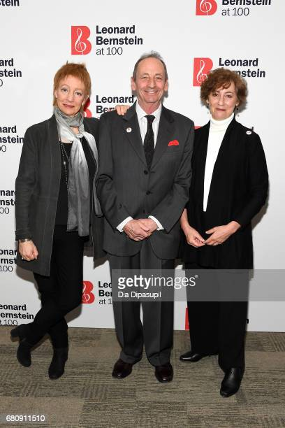 Jamie Bernstein Alexander Bernstein and Nina Bernstein attend the Leonard Bernstein at 100 press event at the Stanley H Kaplan Penthouse at Lincoln...