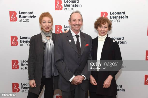 Jamie Bernstein Alexander Bernstein and Nina Bernstein Simmons attend the Leonard Bernstein at 100 press event at Stanley H Kaplan Penthouse at...