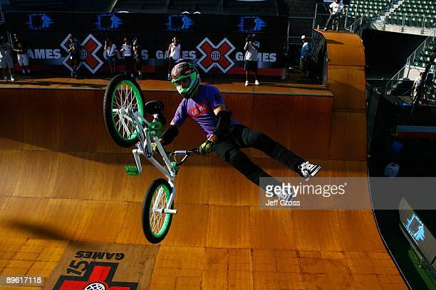 Jamie Bestwick competes in the BMX Freestyle Vert Final during X Games 15 at the Home Depot Center on August 1 2009 in Carson California