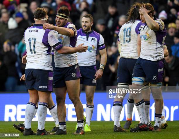 Jamie Bhatti of Scotland celebrates with Stuart McInally of Scotland after the NatWest Six Nations match between Scotland and France at Murrayfield...
