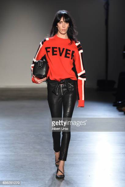 Jamie Bochert walks the runway at the Zagdig Voltaire fashion show during New York Fashion Week at Skylight Modern on February 13 2017 in New York...