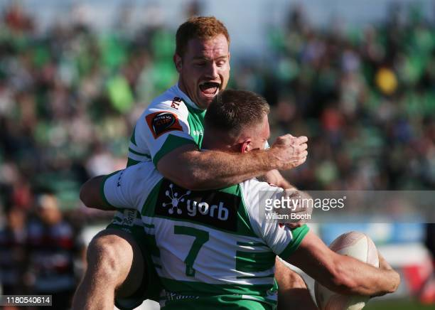 Jamie Booth of Manawatu celebrates the try of Johnny Galloway during the round 10 Mitre 10 Cup match between Manawatu and Counties Manukau at Central...