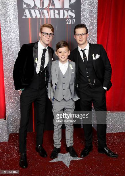 Jamie Borthwick Bleu Landau and Harry Reid attend The British Soap Awards at The Lowry Theatre on June 3 2017 in Manchester England The British Soap...