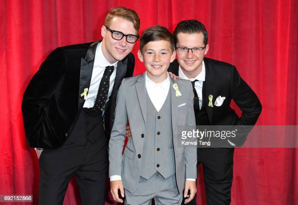 Jamie Borthwick Bleu Landau and Harry Reid attend the British Soap Awards at The Lowry Theatre on June 3 2017 in Manchester England