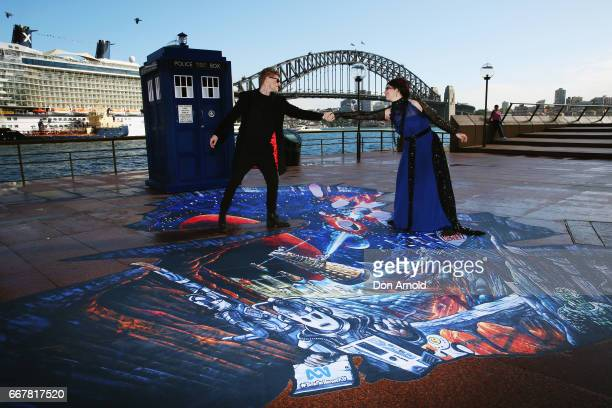 Jamie Boyd and Ellie Cavanagh pose during a Doctor Who 3D Illusion event on April 13 2017 in Sydney Australia