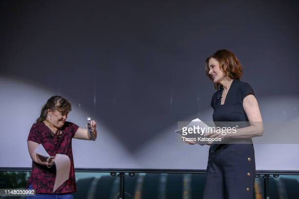 Jamie Brewer and Geena Davis at the Geena and Friends event at the Crystal Bridges Museum of American Art on May 08 2019 in Bentonville Arkansas