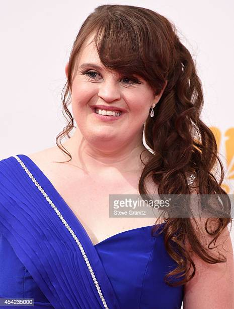 Jamie Brewer arrives at the 66th Annual Primetime Emmy Awards at Nokia Theatre LA Live on August 25 2014 in Los Angeles California