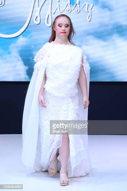 Jamie Brewer walks the runway wearing MisfitMissy during NYFW Powered By hiTechMODA on February 08, 2020 in New York City.