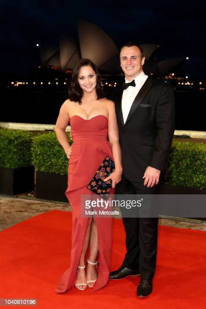 Jamie Buhrer and Grace Buhrer arrive at the 2018 Dally M Awards at Overseas Passenger Terminal on September 26 2018 in Sydney Australia