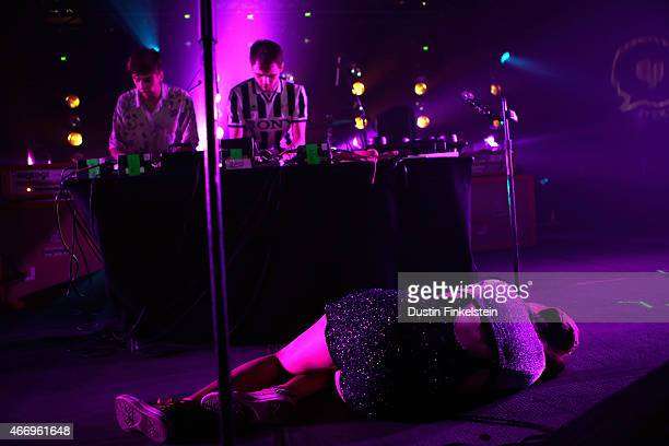 Jamie Bulled Gus Lobban and Sarah Midori Perry of Kero Kero Bonito perform onstage at the Hype/Gorilla vs Bear showcase during the 2015 SXSW Music...