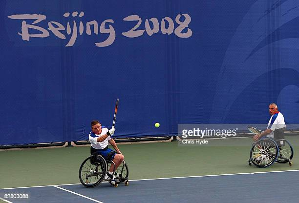 Jamie Burdekin and Peter Norfolk of Great Britain compete in the mixed doublesquad Bronze medal match of Wheelchair Tennis at the Beijing Olympic...