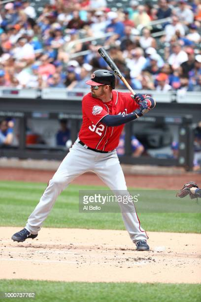 Jamie Burke of the Washington Nationals bats against the New York Mets during their game at Citi Field on July 15 2018 in New York City