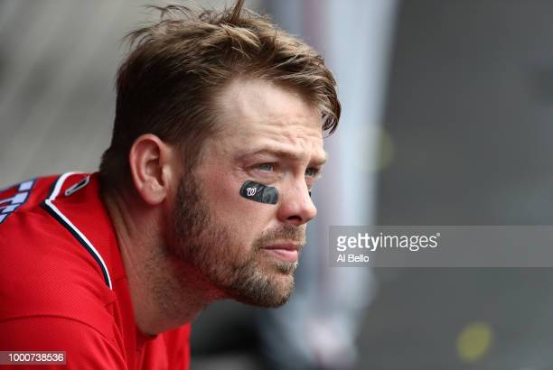 Jamie Burke of the Washington Nationals looks on against the New York Mets during their game at Citi Field on July 15 2018 in New York City