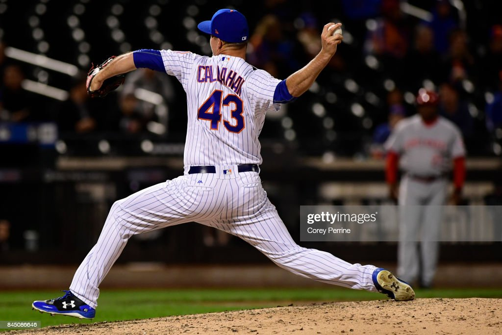 Jamie Callahan #43 of the New York Mets closes against the Cincinnati Reds during the ninth inning at Citi Field on September 9, 2017 in the Flushing neighborhood of the Queens borough of New York City. The Mets won 6-1.