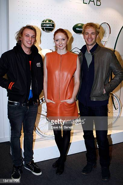 Jamie CambellBower Lily Cole and James D'Arcy visit the Lacoste Lounge during the ATP World Finals sponsored by Lacoste at O2 Arena on November 27...