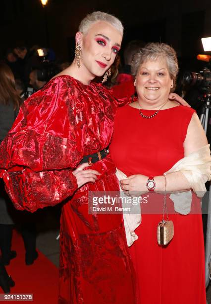 Jamie Campbell and mother Margaret Campbell attend the 18th Annual WhatsOnStage Awards at the Prince Of Wales Theatre on February 25 2018 in London...