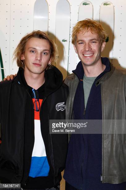 Jamie Campbell Bower and James D'Arcy visit the Lacoste Lounge during the ATP World Finals sponsored by Lacoste at O2 Arena on November 27 2011 in...