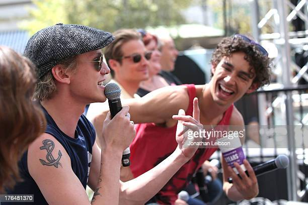 Jamie Campbell Bower and Robert Sheehan attend the 'The Mortal Instruments City Of Bones' meet and greet at The Americana at Brand on August 13 2013...